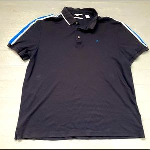 Calvin Klein Liquid Touch navy polo with logo and race stripes